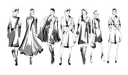 Beautiful young women in modern style.. Hand drawn stylish woman portrait. Fashion lady. Festive outfit. Sketch. Fashion model posing in coatHand drawn fashion woman. Zdjęcie Seryjne - 151147681