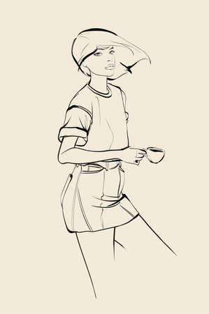 Sketch coffee girl. Cute girl with coffee cup Ilustracja