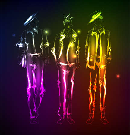 fashion model from a neon. A light men. Fashion men. Stylish fashion model. Fashion illustration Vettoriali