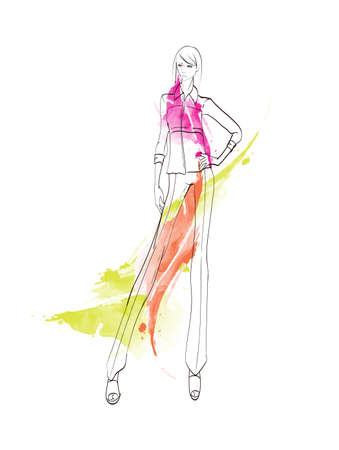 Beautiful young women in modern style .. Hand drawn stylish woman portrait. Fashion lady. Festive outfit. Sketch Fashion model posing in dress. Hand drawn fashion woman.