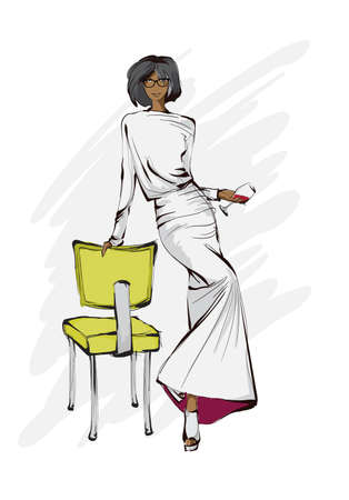 Beautiful young women in modern style. Fashion lady. Festive outfit. Sketch. Fashion model posing in dress. Hand drawn beautiful African American girl in a white dress.