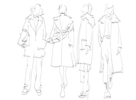Beautiful young women in modern style .. Hand drawn stylish woman portrait. Fashion lady. Autumn outfit. Sketch set. Fashion model posing in coat. Hand drawn fashion woman.