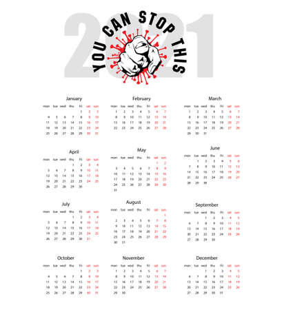 2021 calendar with clenched fist and coronavirus. Covid-19 calendar background