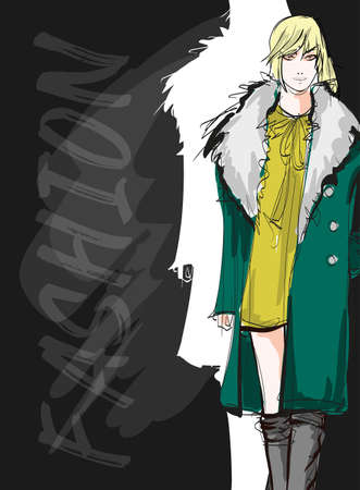 Beautiful young blonde hair woman in autumn coat. Hand drawn fashion girl. Fashion model posing. Sketch. Vector illustration. Fashion woman look. Sketch.