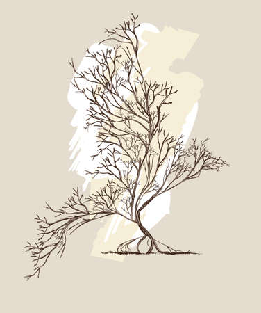Trees intertwined in bird shape with, hand-drawn illustration in vintage style. Illusztráció