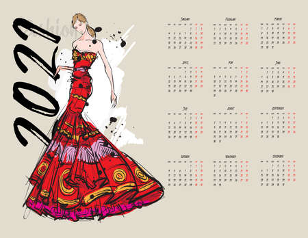 Calendar 2021. Sketch of a fashion girl, in an evening dress with ethnic patterns