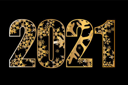 2021 golden New Year sign with golden glitter and golden snowflakes. Vector New Year illustration.