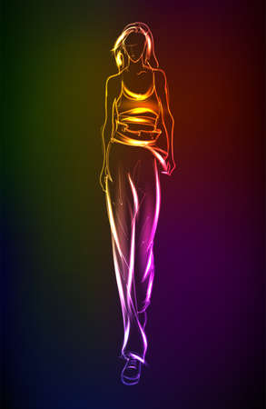 Hand-drawn fashion model from a neon. A light girl's. Fashion girl. Stylish fashion model. Fashion woman