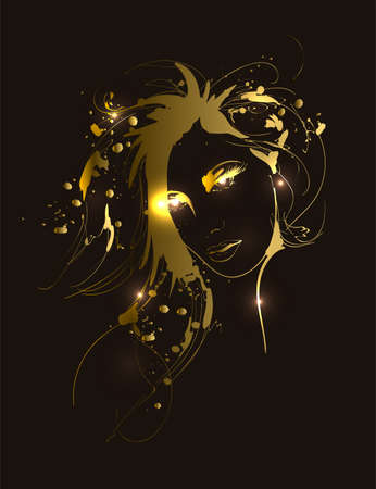 Beautiful golden woman portrait. Hand drawn vector illustration sketch