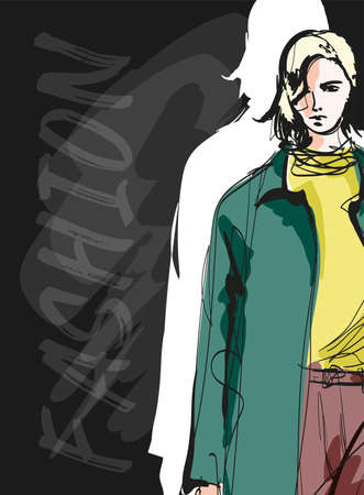 Beautiful young blonde hair woman in autumn coat. Hand drawn fashion girl. Fashion model posing. Sketch. Vector illustration. Fashion woman look. Sketch.