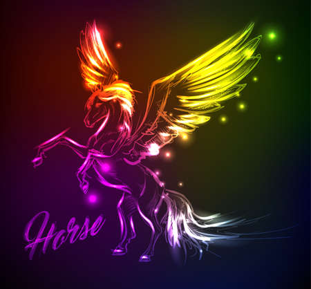 Fire Pegasus. Winged horse in neon light