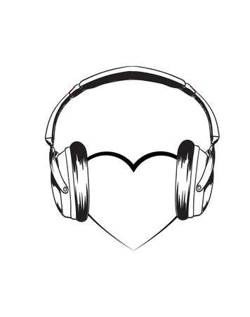 Headphones with heart. Vector sketch