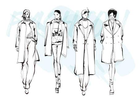 Beautiful young women in modern style .. Hand drawn stylish woman portrait. Fashion lady. Winter outfit. Sketch set. Fashion model posing in coat. Hand drawn fashion woman.