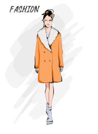 Young beautiful woman in spring clothes. Sale concept. Hand-drawn fashion illustration