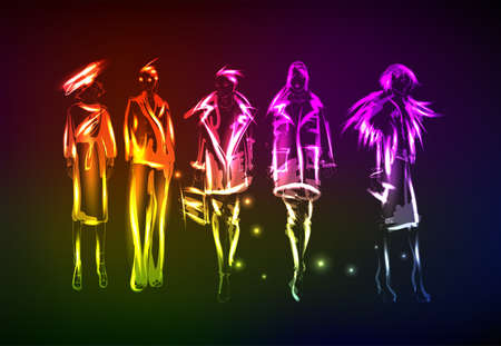 Hand-drawn fashion model from a neon. A light girls.