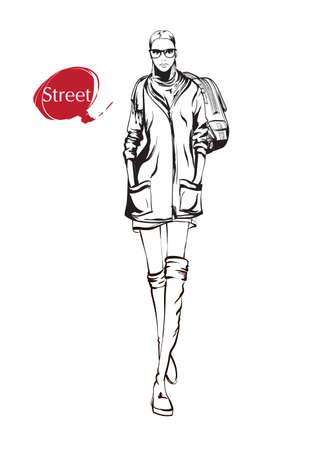 Beautiful young woman in spring jacket. Hand drawn fashion girl. Fashion model posing. Sketch. Vector illustration. Fashion woman look. Sketch.