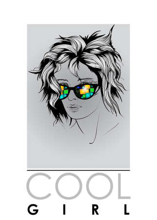 Hand-drawn face of a beautiful young woman wearing glasses. Fashion. Beautiful face of a woman. Girl poster. Sexy white model Illusztráció