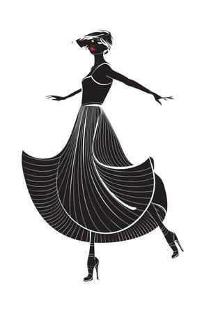 Dancing girl in a long dress. Woman Silhouette. Illusztráció