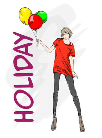 Hand drawn beautiful young woman in red t shirt. Stylish girl with colorful balloons. Fashion woman look. Sketch. Vector illustration.
