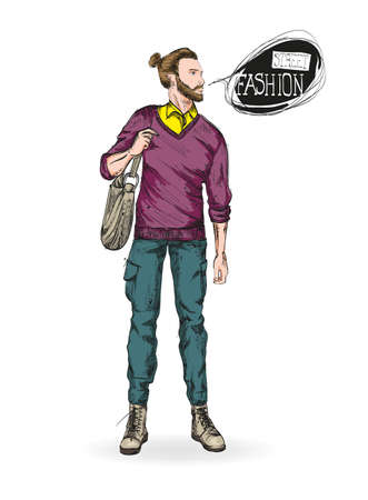 Fashion man. Sketch of fashion man on a white background.