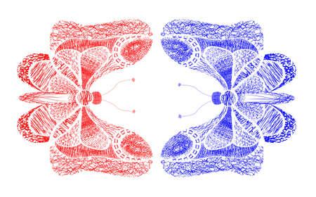 Vector background with butterflies on white background Illusztráció