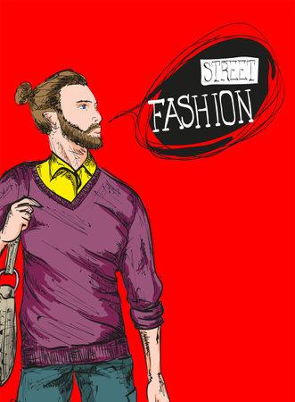 Fashion man. Sketch of fashion man on a red background. Spring man. Street style Illusztráció
