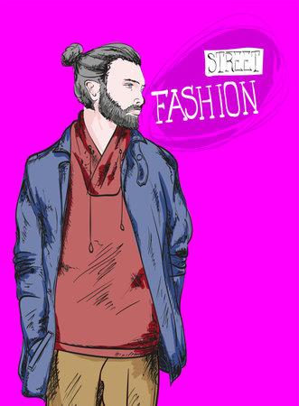 Fashion man. Sketch of fashion man on a purple background. Spring man. Street style Illusztráció