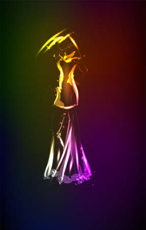 Hand-drawn fashion model from a neon. A light girls. Fashion girls. Stylish fashion model. Fashion woman Illusztráció