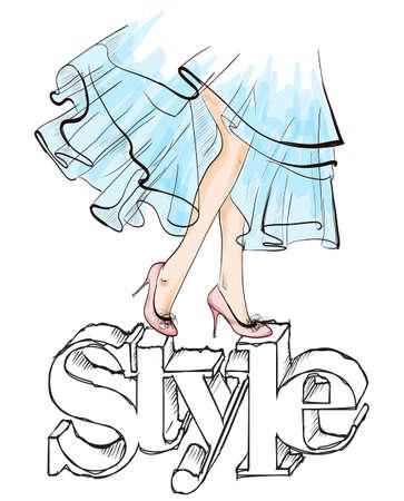 Beautiful young woman's legs. Hand drawn fashion girl legs. Fashion model posing. Sketch. Vector illustration. Illusztráció