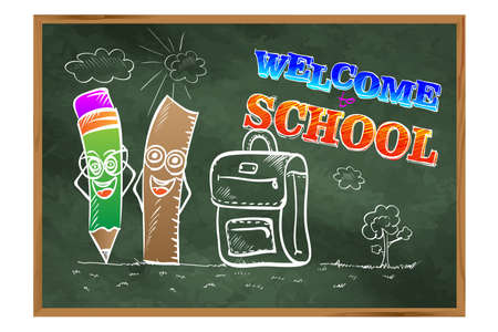 Welcome to school. Welcome to school. A blackboard with pencils and a briefcase. Drawing on the education theme. Illusztráció