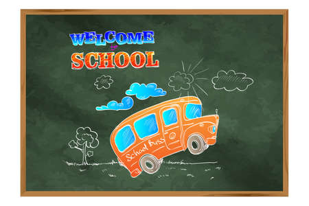 Welcome to school. A blackboard with a school bus. Drawing on the topic of education. Illusztráció