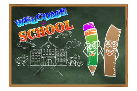 Welcome to school. Welcome to school. A blackboard with pencils and school building. Drawing on the education theme. Illusztráció