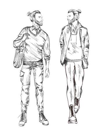 Fashion man. Sketch of fashion man on a white background. Spring man. Street style Illusztráció