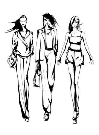 Young beautiful woman in stylish clothes. Sale concept. Hand-drawn fashion illustration Illusztráció