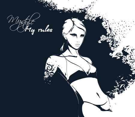 Young beautiful woman in bikini. Sale concept. Hand drawn fashion illustration