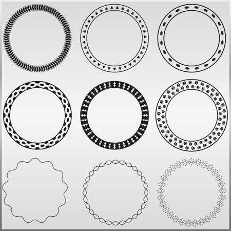 marcos redondos: 9 marcos decorativos redondos. Vectores
