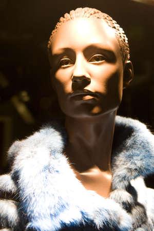 manequin: Manequin wearing fur Stock Photo