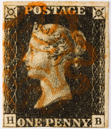 cancelled stamp: 1840 Penny Black with a red Maltese Cross postmark