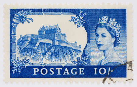 Ten shilling stamp from 1955 depicting Edinburgh Castle and Queen Elizabeths portrait