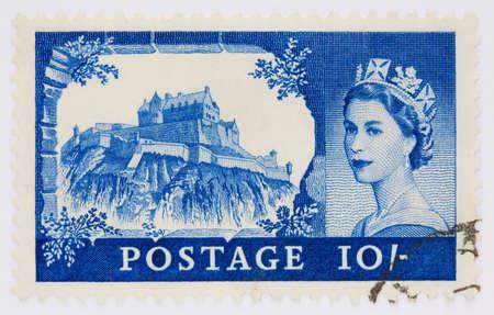 Ten shilling stamp from 1955 depicting Edinburgh Castle and Queen Elizabeth's portrait Stock Photo - 6998252