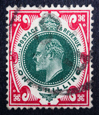British stamp showing a portrait of King Edward VII, who ruled from 1901 to 1910 Stock Photo - 10322727