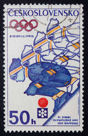Czechoslovakian stamp celebrating the 1972 Winter Olympics in Sapporo, Japan Stock Photo - 10348295