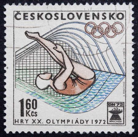 olympics: Czechoslovakian stamp celebrating the 1972 Olympics Editorial