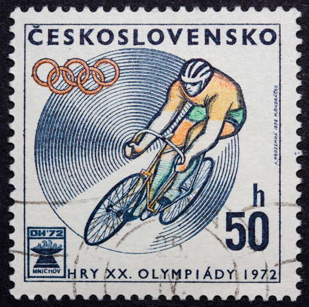 Czechoslovakian stamp celebrating the 1972 Olympics Editorial
