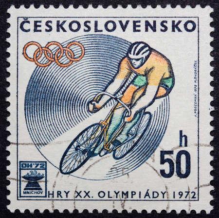 deportes olimpicos: Sello Checoslovaquia celebrando los Juegos Olímpicos de 1972