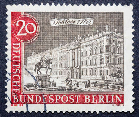 bundespost: German stamp showing a statue of a horse in front of a majestic building, circa 1970