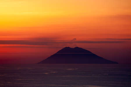 naranja color: A view of Stromboli from mainland Italy