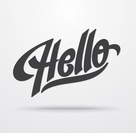 Hello hand lettering calligraphy  Vector 矢量图像
