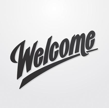 vítejte: Welcome rukou psaný nápis Vector kaligrafie