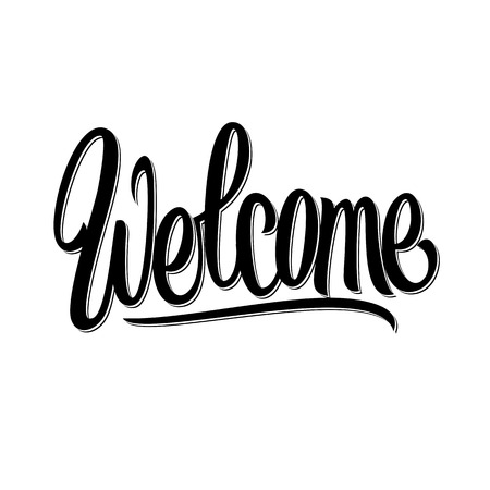 welcome sign: Welcome hand written lettering  Vector calligraphy Illustration